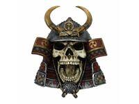KABUTO SKULL 26cm Nemesis Now Japanese Samurai Gothic Wall Hanging - FREE P+P