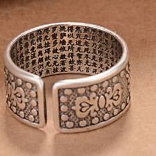 Cool Tibetan Six Words Retro Ring Opening Padme Hum Alloy Ring Useful Adjustment