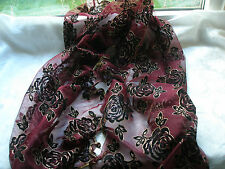 E484 Red Wine Black Gold Floral ROSE Glitter Mesh Evening Ladies Scarf Pashmina