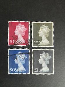 Gb used machin definitive stamp set. 1970 4 values.