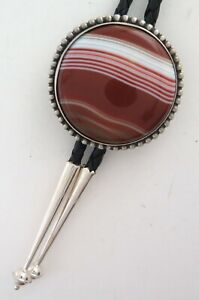 Large Sterling Silver & Banded Agate Elegant Beaded Border Round Bolo Tie