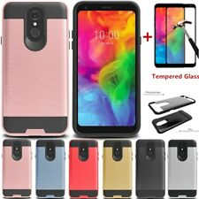 For LG Q7 Plus/Alpha Shockproof Slim Armor Rugged Hard Case Cover+Tempered Glass