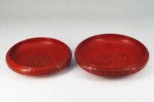 Japan TSUISHU URUSHI Wood Sweets Bowl Pair Peony-motif Free Ship 608k23