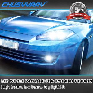 For Hyundai Tiburon 2007 2008 Combo 6X LED Headlights High Low + Fog Light Bulbs