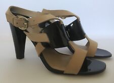 NEW!!! MAX STUDIO Black Patent & Tan Leather Open Toe Heels Size 8