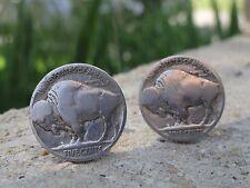 Buffalo Nickel Cufflinks -- Coin Indian Head Bison Money American Jewelry