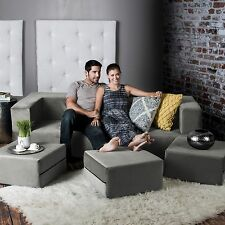 Jaxx Zipline Convertible Sofa & Ottomans // California King Size Foam Mattress