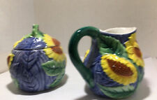 SUNFLOWER CREAMER AND SUGAR BOWL With Lid  PACIFIC RIM Set