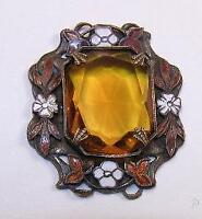Art Nouveau Floral Enamel with Topaz Neiger Czech Glass Pendant
