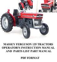 MASSEY FERGUSON 135 TRACTOR OPERATOR'S INSTRUCTION PARTS Operator Manual Owner
