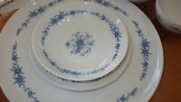 Vintage China Dinnerware set Blue Brocade by ELite Creations s/6 36 pieces