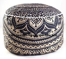 Black Gold Mandala Floor Pillow Footstool Round Pouf Cover Ottoman Cover Pouffe