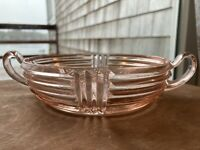 Vtg. MANHATTAN CANDY NUT DISH W/ HANDLES Anchor Hocking PINK DEPRESSION GLASS
