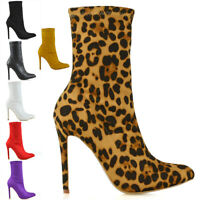 Womens Stretch High Stiletto Heel Ladies Pointed Toe Ankle Boots Shoes Size 3-8