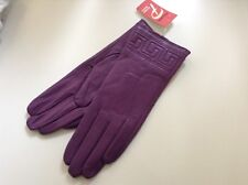6.5 100% Auth Paizong 100% Leather Purple Gloves With Fur Lining.
