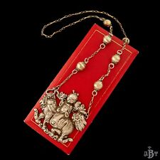 Antique Vintage Deco Sterling Silver Chinese Qilin Kylin Rider Pendant Necklace