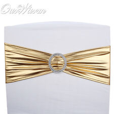50PCS Gold  Shining Stretch Chair Cover Bands Plastic Buckle Wedding Party Decor