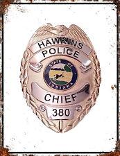 STRANGER THINGS Hopper Hawkins Badge inspired Retro Man Cave Metal Poster SIGN