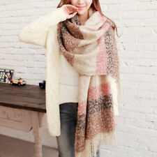 65*200cm Women Winter Mohair Knitted Tassel Long Scarf Wrap Shawl Scarves AU