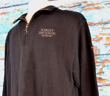 Harley Davidson Museum Men's Half Zip Sweater Pullover Black Size Large Outdoor