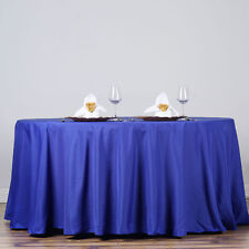 """ROYAL BLUE 132"""" ROUND POLYESTER TABLECLOTH Wedding Party Catering Kitchen Dinner"""