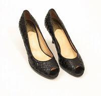 Cole Haan Niki Air Black Basket Weave Patent Leather Heels US 8B