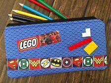 Handmade Fabric Lego Superhero inspired Pencil Case Kids Batman Superman Bricks