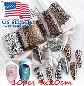 10 pcs Nail Foils Transfer Stickers Decals /  Different Designs 4x20 cm Zip Bag