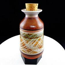 """PORTUGUESE ART POTTERY STONEWARE BROWN AND GREY 7 3/4"""" CORKED JAR"""