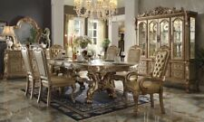 """Dresden 7-Pc 76""""-108"""" Double Pedestal Dining Table Gold Patina Carved Wood 7pcs"""