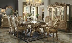 "Dresden 7-Pc 76""-108"" Double Pedestal Dining Table Gold Patina Carved Wood 7pcs"