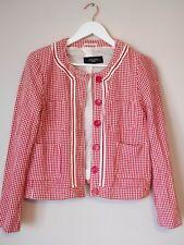 Max Mara Weekend Red White Tweed Cropped Check Blazer Jacket Size 10 12 Cardigan