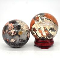 40MM Natural Red Silver Leaf Jasper Crystal Healing Reiki Gemstone Shpere Ball