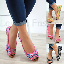 f79995987958 New Womens Flat Peep Toe Pumps Bow Slip On Plimsolls Ballerinas Casual Shoes