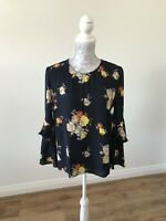 Warehouse Long Ruffled Sleeve Floral Top With Keyhole Cut-Out On Back - Size 10