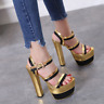 Womens Gold Chunky 16 CM High Heel Platform Sandals Sexy Shoes Open Toe Clubs