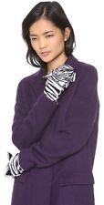 NWT RARE Alice + Olivia Zebra Mittens Gloves 100% Wool Black Print Cute LAST ONE