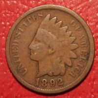 1892 Indian Head Cent Penny , Good , US Coin