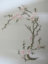 "#6767J 10-5/8"" White Pink Yellow Quince, Sakura Flower Embroidery Applique Patch"