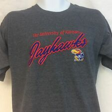 KU Kansas Jayhawks T Shirt Large Embroidered Gray NEW Ships Free
