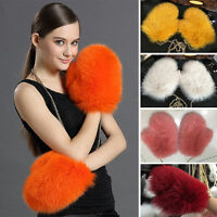 Real Fox Fur Gloves Plushed Fluffy Fox Women Warm Gloves Ladies Mittens