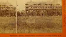 1871 ( ALBANY  NY ) 1ST HOTEL BUILDING STREET TOWN VIEW STEREOVIEW ) PHOTO card