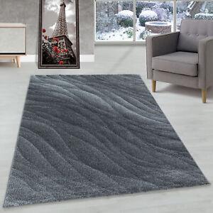 Wohnzimmerteppich Kurzflor Teppich Muster Modern Design Wellen Linien Weich Grau