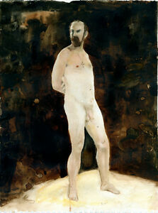 Painting, NUDE male, ETUDE, #ArtofEsteban 1/10/50 Realism  FREE SHIP