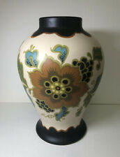 Vintage Modica Gouda Plateel Holland Vase Floral Print