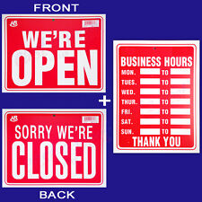 """2 Signs   1 BUSINESS HOURS & 1 WE'RE OPEN / SORRY WE'RE CLOSED 9""""x12""""  Plastic"""