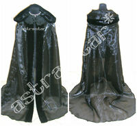 FUR MEDIEVAL CAPE BLACK CLOAK DRESS WITCH VAMPIRE COSTUME GOTHIC HALLOWEEN WICCA