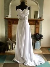 Ice White Grecian Wedding Dress With Jewelled Detailing. Size 6.