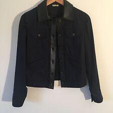 MIU MIU navy blue cotton & leather trim jacket - Size Medium - Immaculate - £995