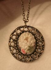 Lovely Openwork Heart-Rimmed Ceramic Pastel Flowers Pendant Necklace ++++